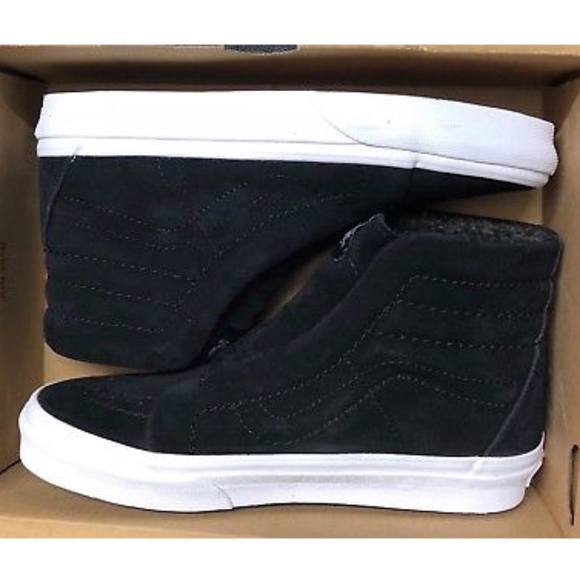 14243cccb82 Vans Sk8 Hi Reissue Suede Fleece Black Shoes